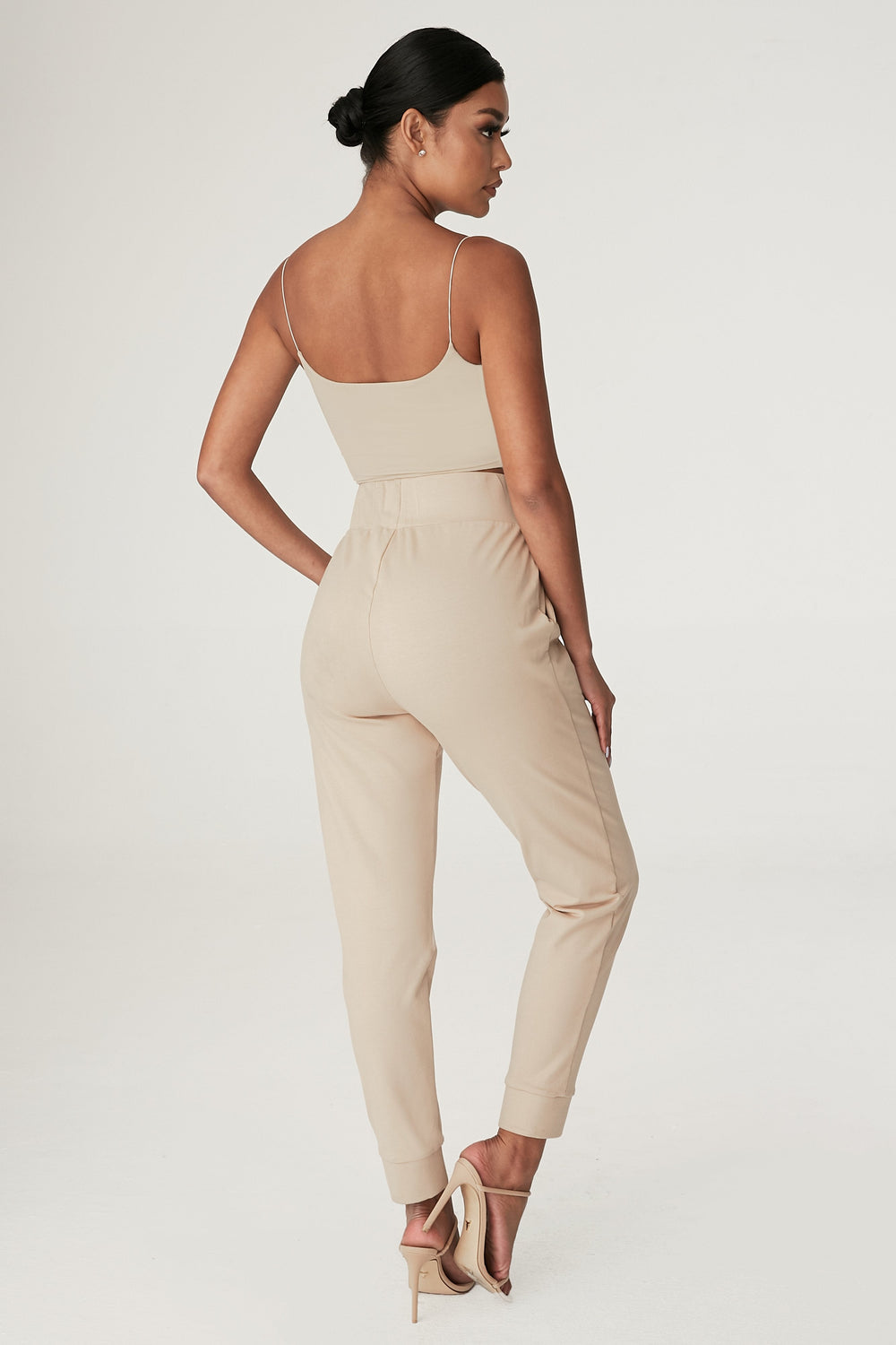Amelia Fitted High Waisted Joggers - Almond - MESHKI ?id=12240554983499