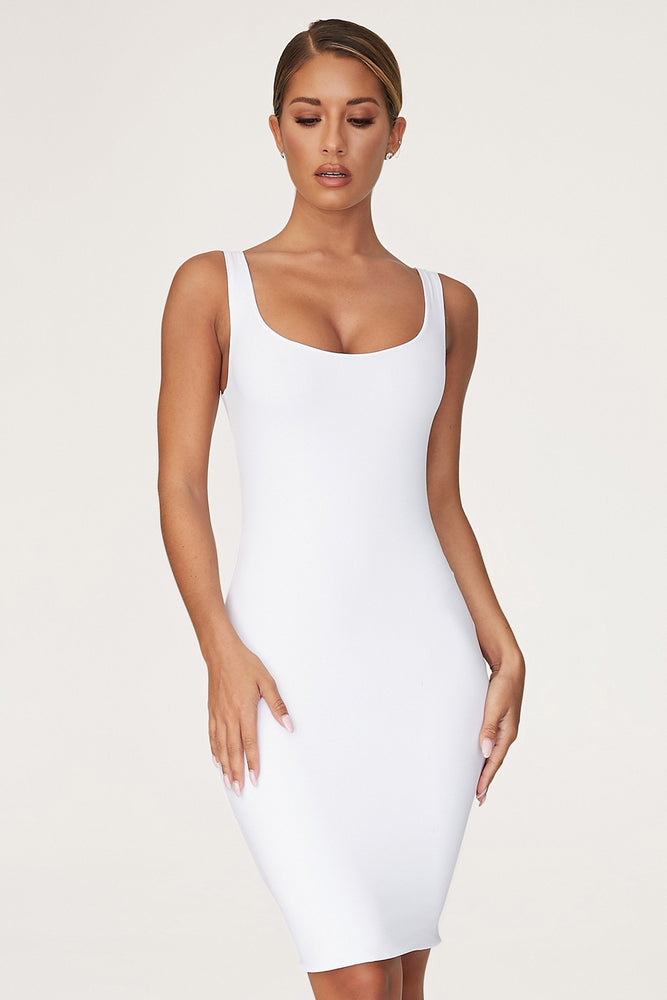 Estelle Thick Strap Square Neck Mini Dress - White - MESHKI