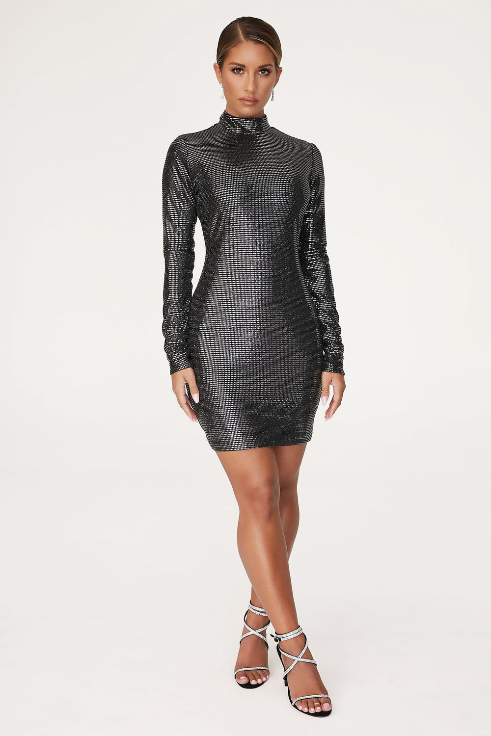 Gianna High Neck Long Sleeve Dress - Black - MESHKI ?id=12565657288779