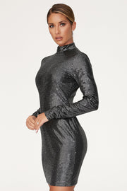 Gianna High Neck Long Sleeve Dress - Black - MESHKI ?id=12565649064011