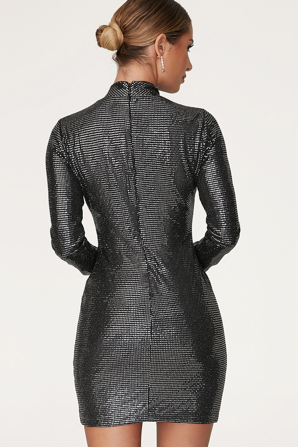 Gianna High Neck Long Sleeve Dress - Black - MESHKI ?id=12565649096779