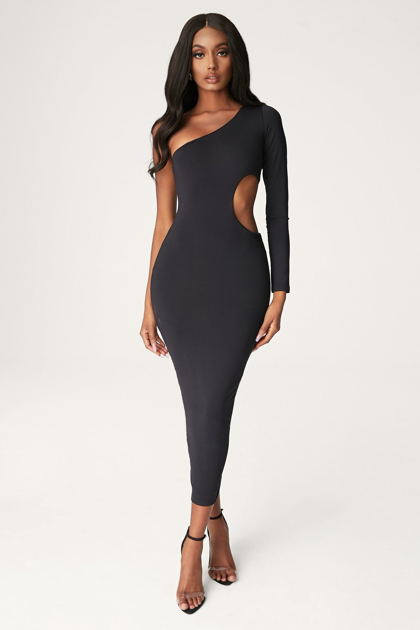 Bexley One Shoulder Cut Out Midi Dress - Black - MESHKI