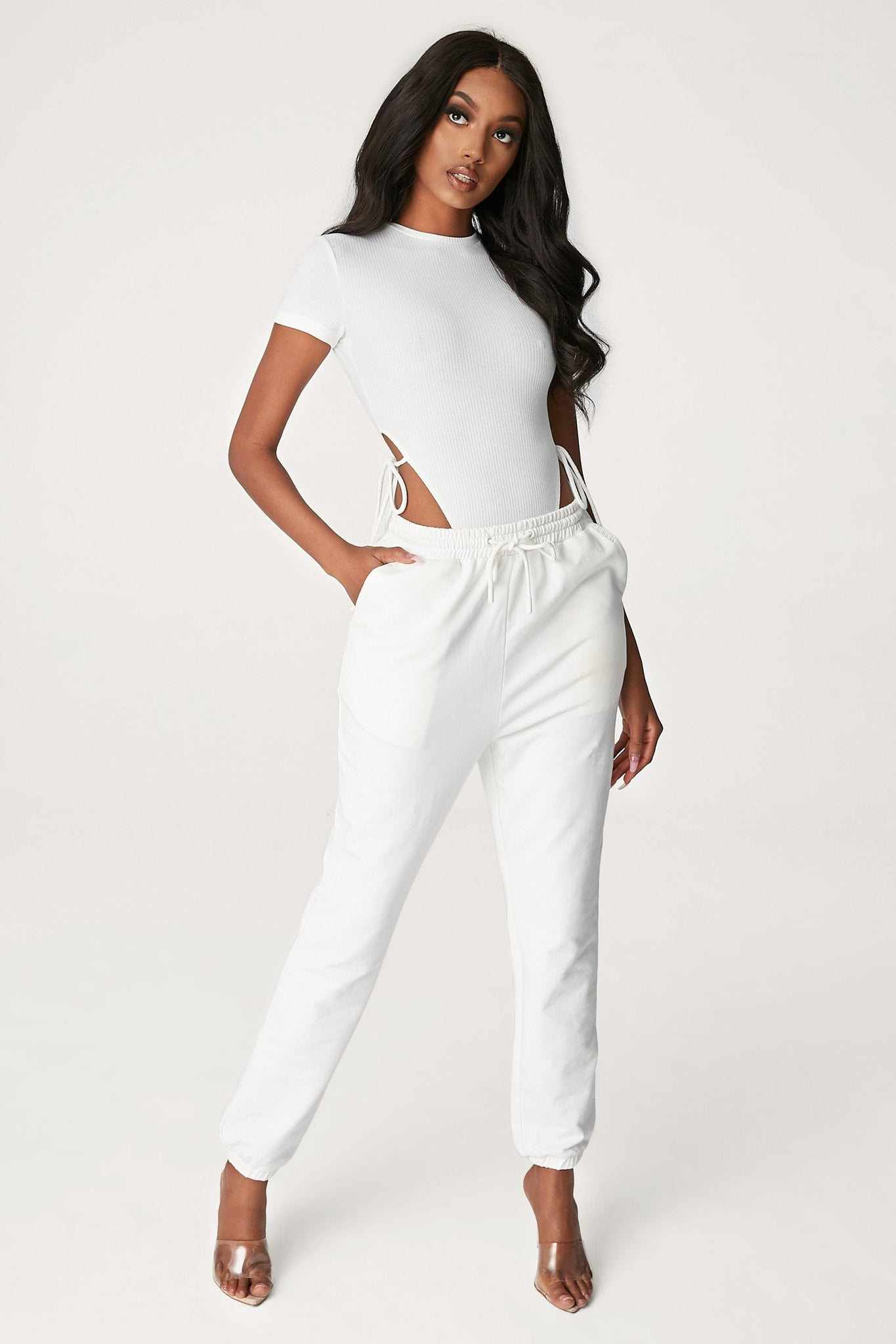 Rebecca Ribbed High Cut Bodysuit - White - MESHKI