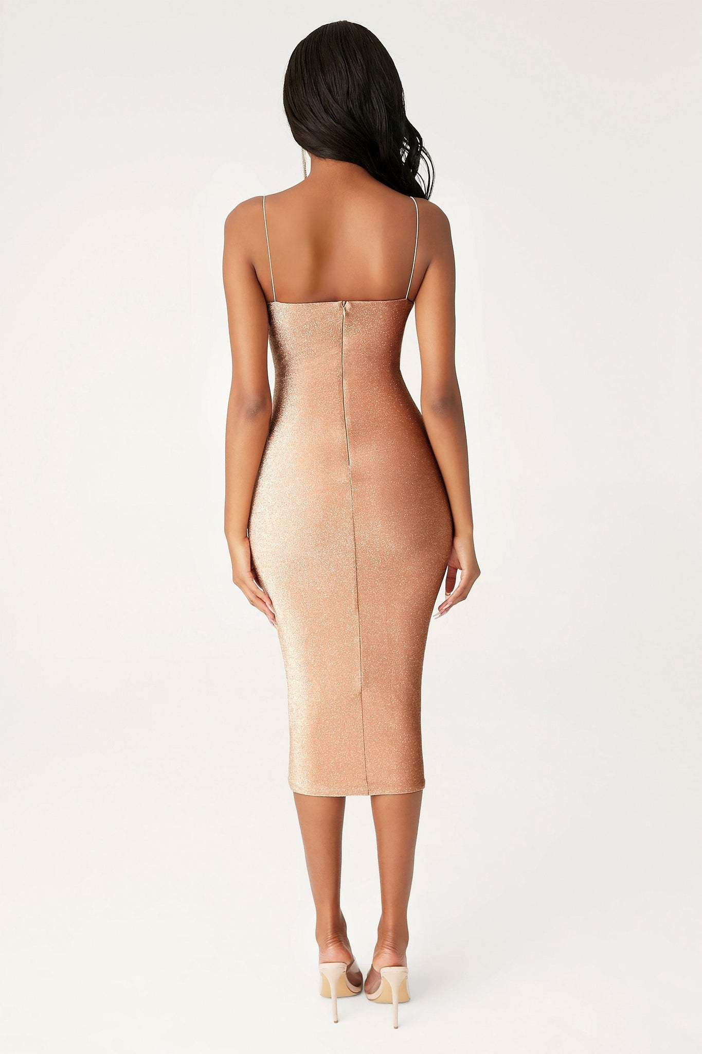 Jalia Thin Strap Shimmer Dress - Bronze - MESHKI