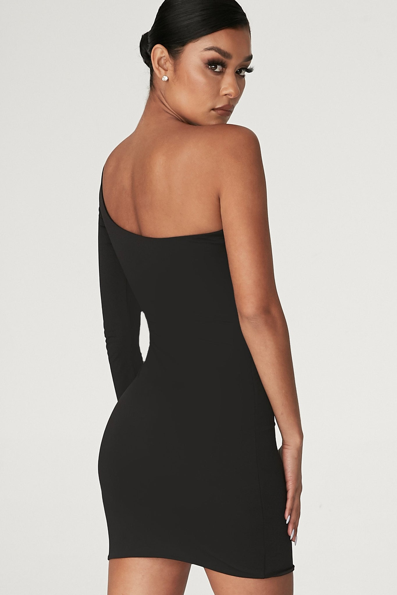 Mya One Shoulder Dress - Black - MESHKI