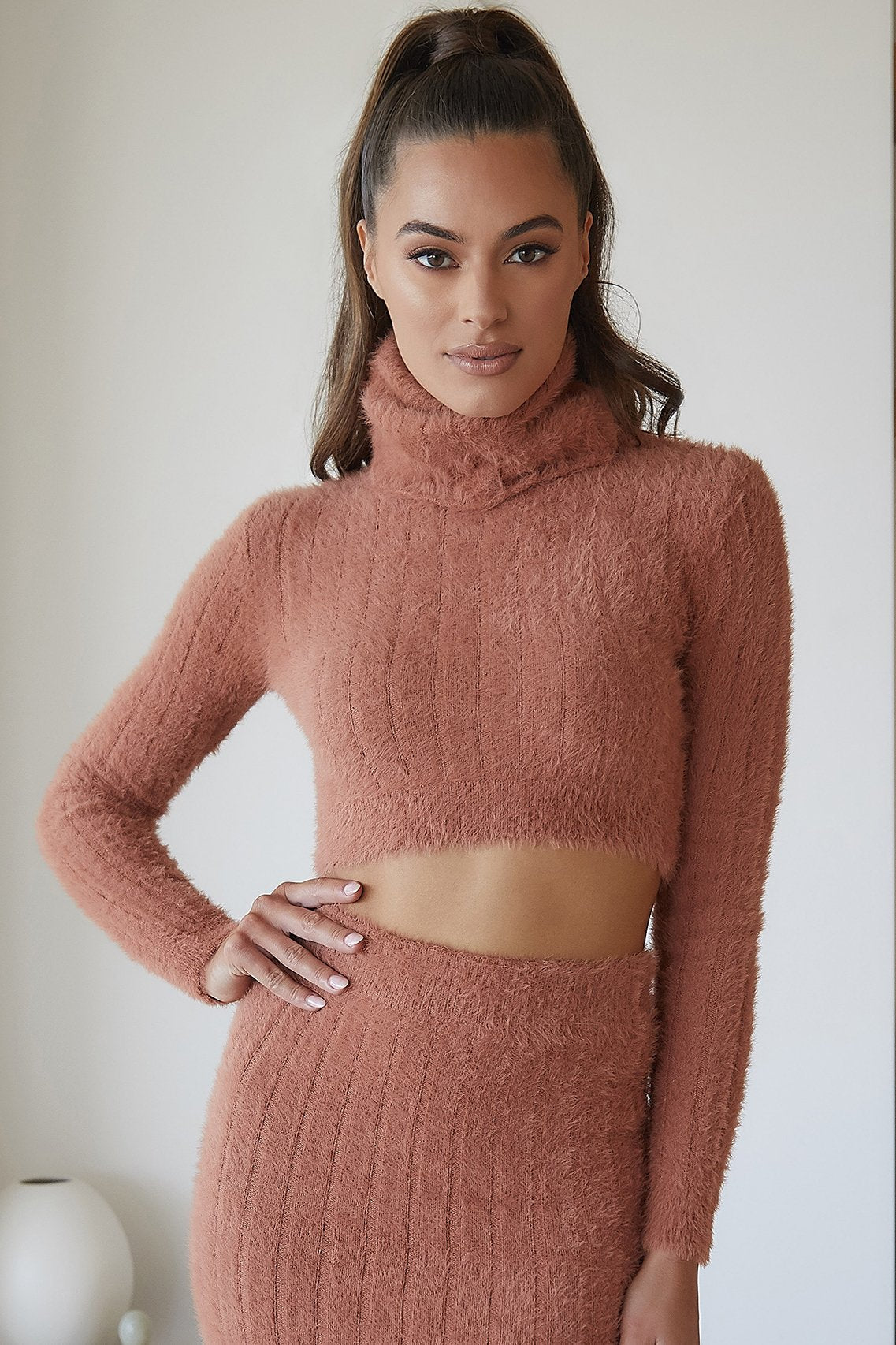 Tessa Roll Neck Long Sleeve Fluffy Stripe Jumper - Cinnamon - MESHKI