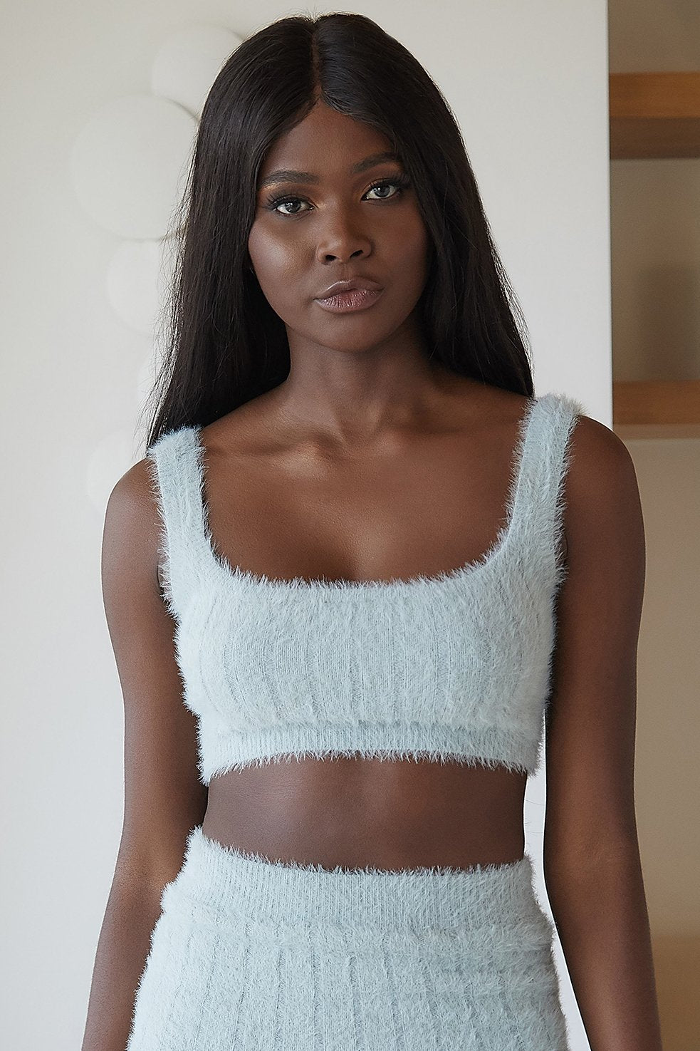 Jasmene Thick Strap Fluffy Knit Crop Top - Pistachio - MESHKI