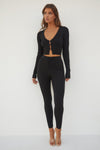 Nina Rib Knit Leggings - Black