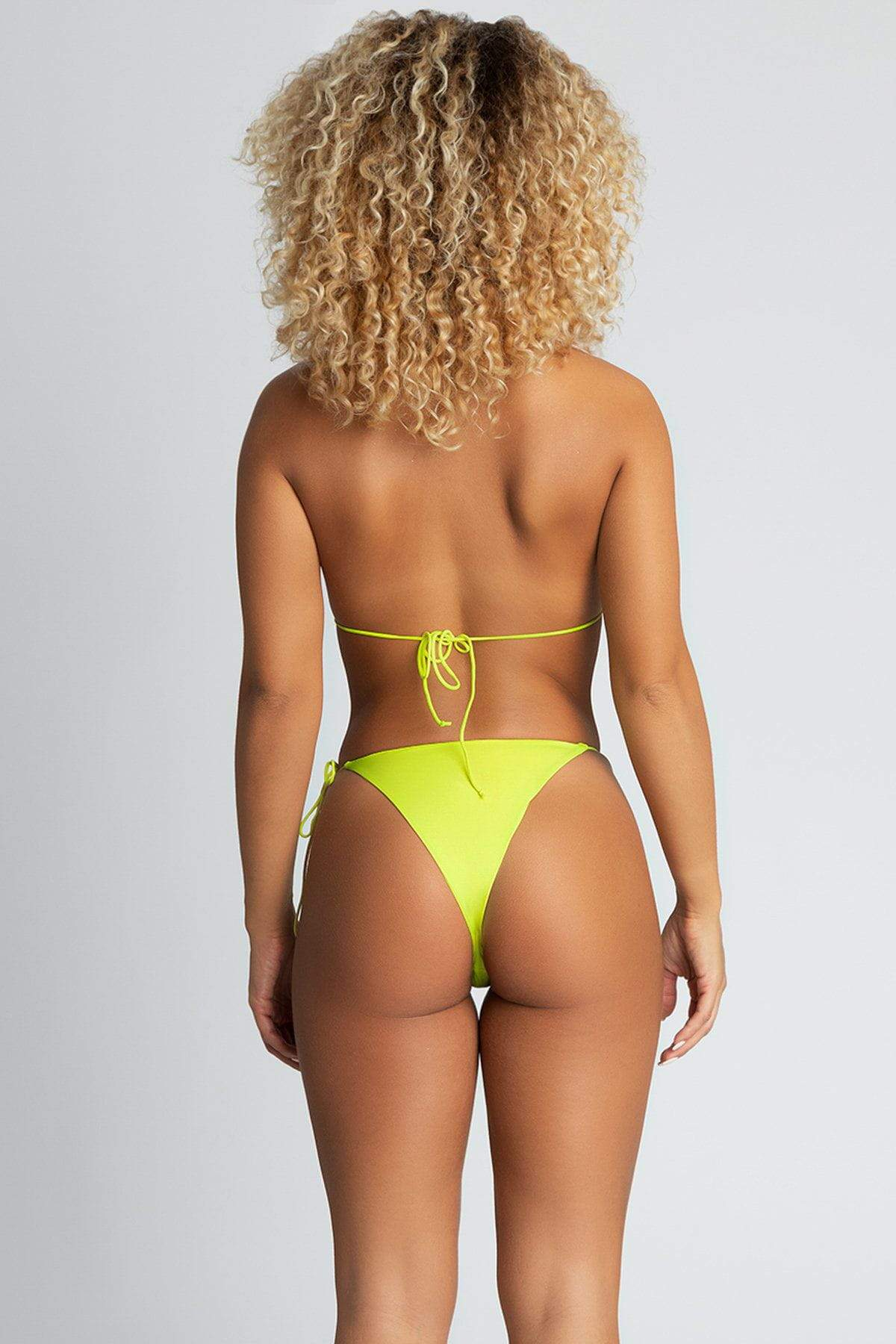 Amalia Tie Up Bikini Bottoms - Neon Yellow - MESHKI