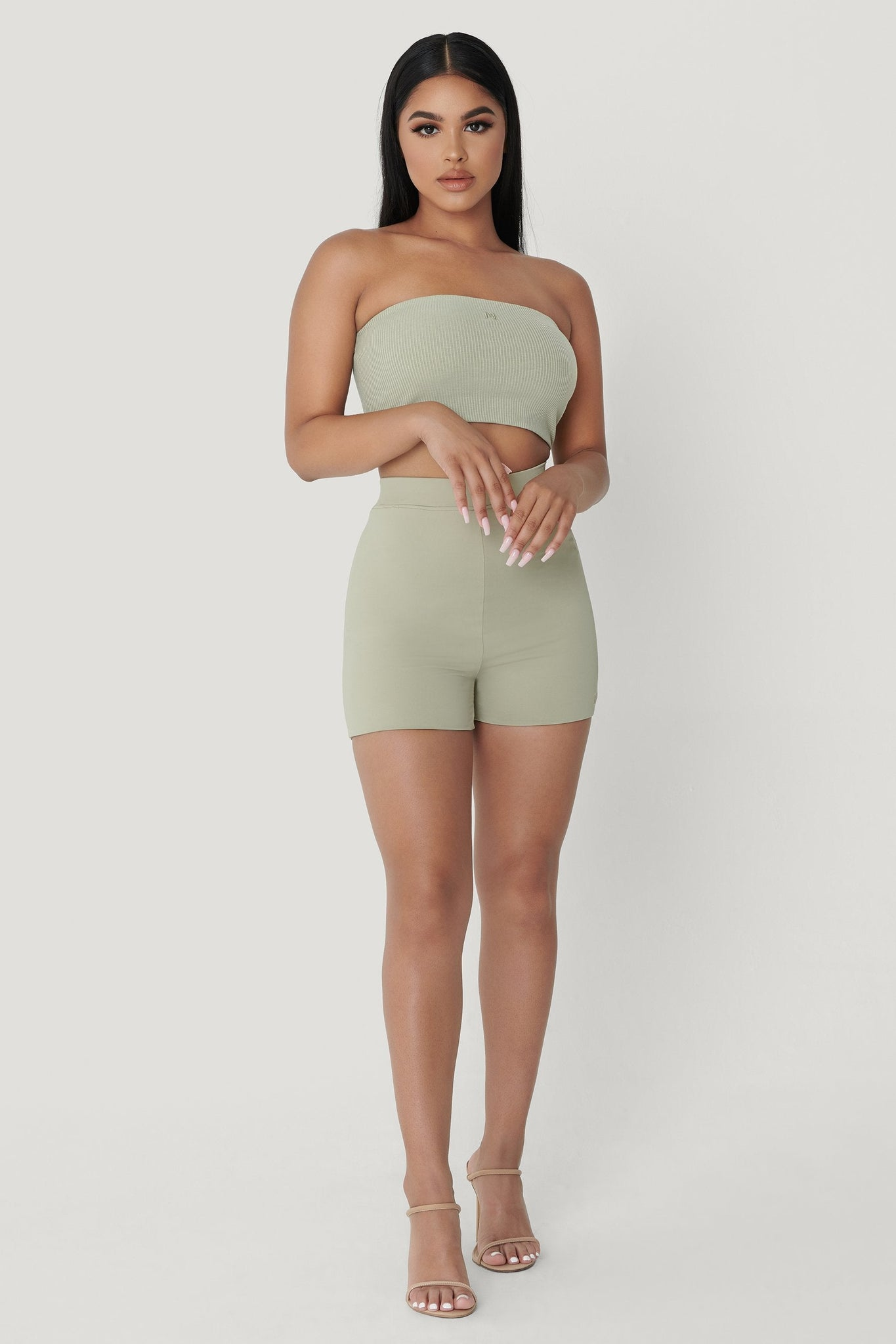 Tiffani Mini Bike Shorts - Olive - MESHKI