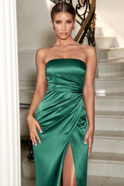 Riely Ruched Strapless Drape Split Dress - Emerald - MESHKI ?id=11304712634443