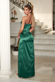 Riely Ruched Strapless Drape Split Dress - Emerald - MESHKI ?id=10957501923403