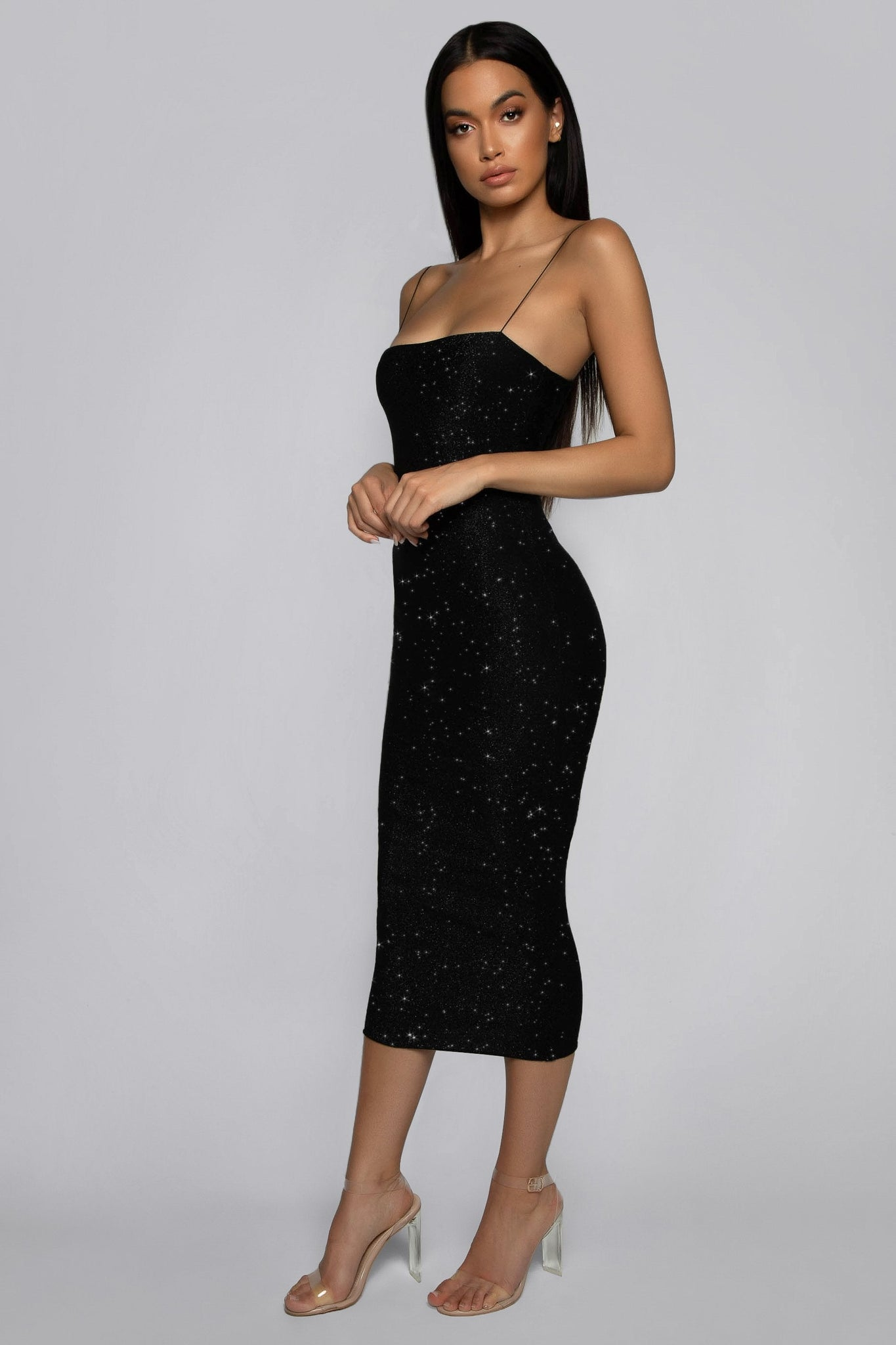 Jalia Thin Strap Shimmer Dress - Black - MESHKI