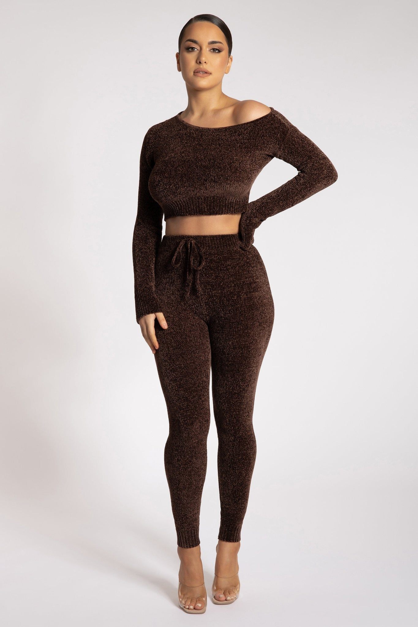 Aisha Chenille Leggings - Chocolate - MESHKI