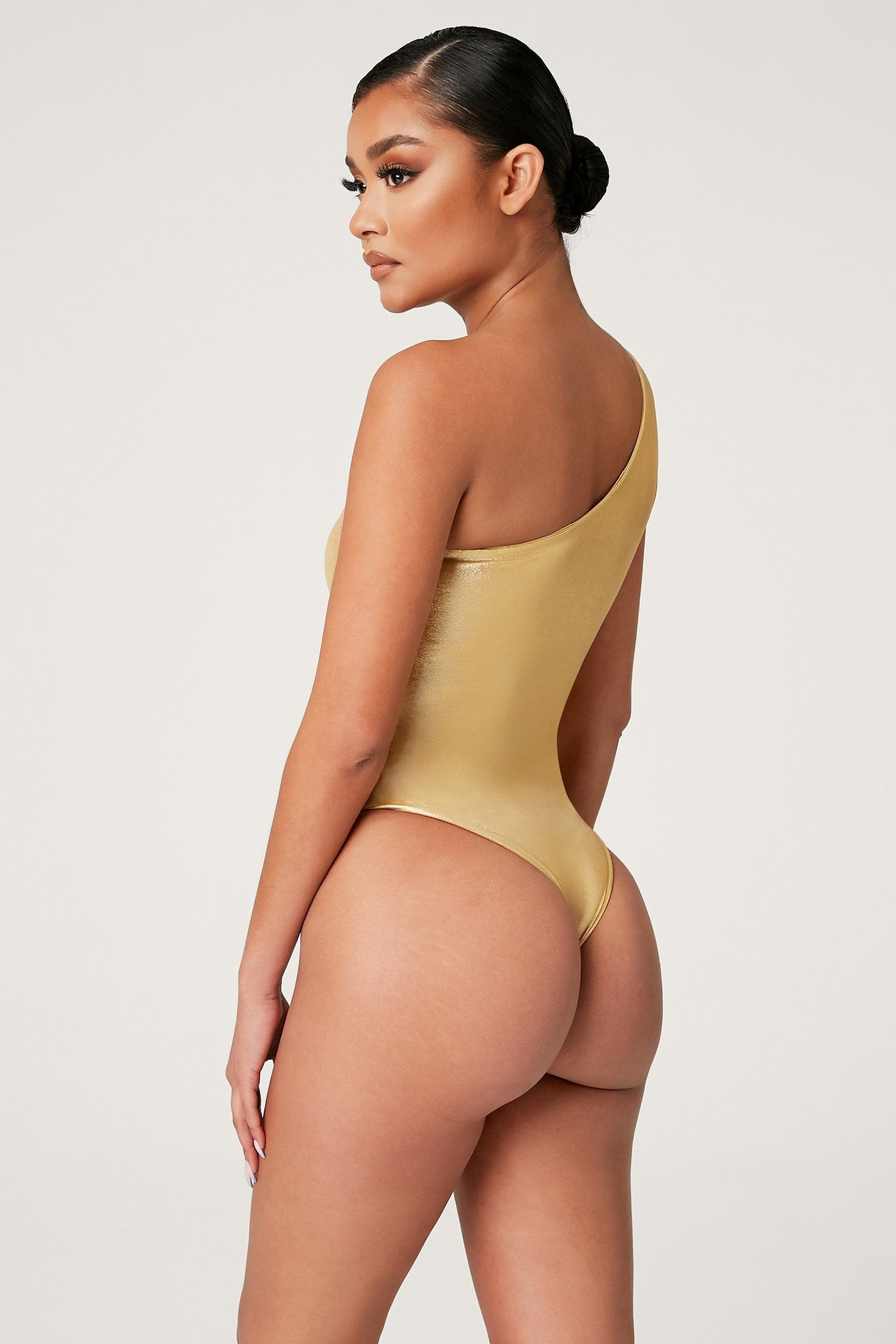 Kadie One Shoulder One Piece - Gold - MESHKI