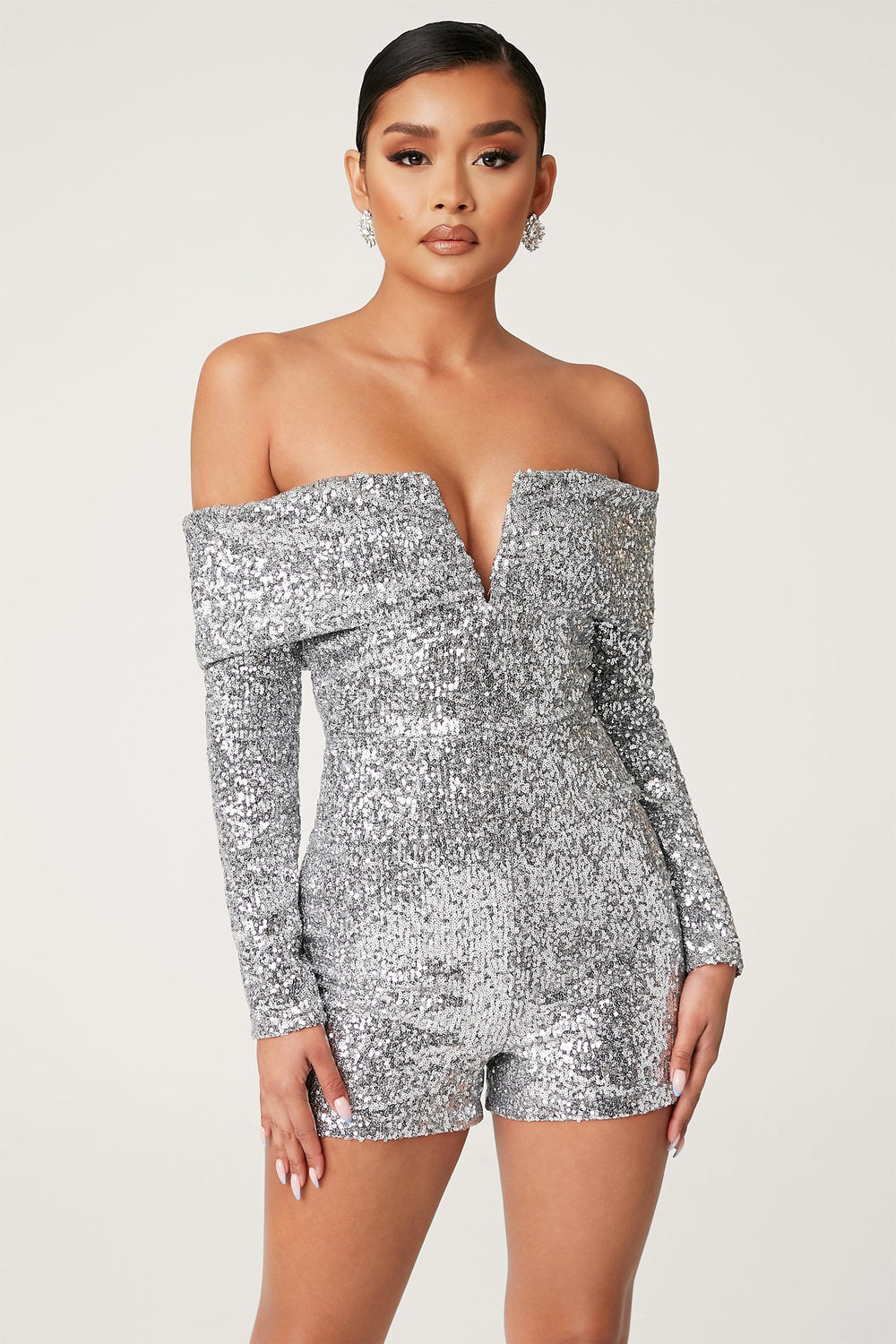 Kella Sequin Off The Shoulder Playsuit - Silver - MESHKI ?id=13900588646475