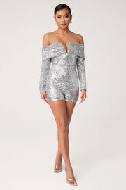 Kella Sequin Off The Shoulder Playsuit - Silver - MESHKI ?id=13900588449867
