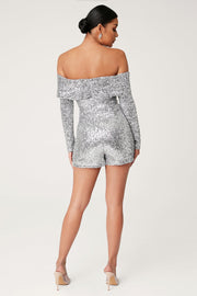 Kella Sequin Off The Shoulder Playsuit - Silver - MESHKI ?id=13900588810315