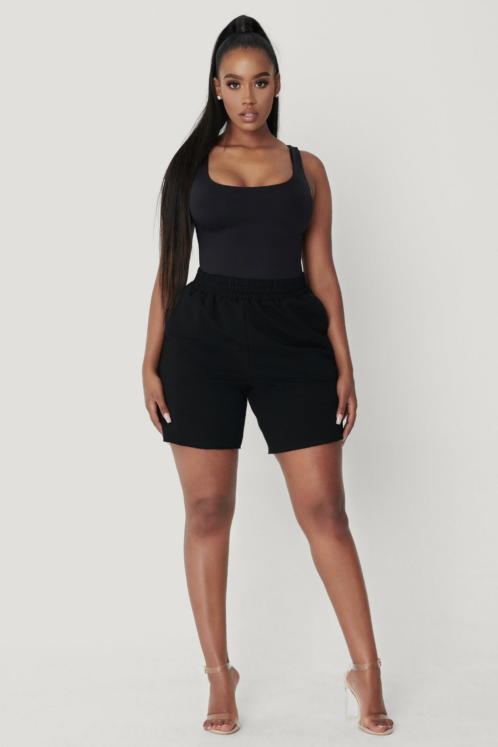 Paloma Long Shorts - Black - MESHKI ?id=12376486215755