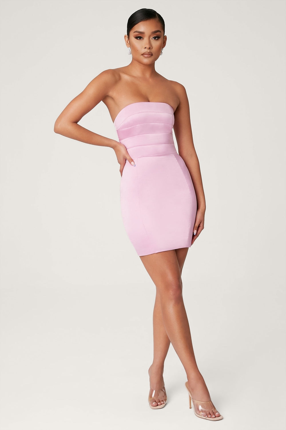 Alline Strapless Satin Mini Dress - Pink - MESHKI ?id=13873079287883