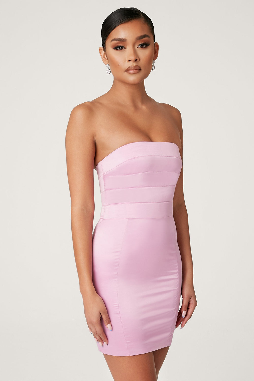 Alline Strapless Satin Mini Dress - Pink - MESHKI ?id=13873079320651