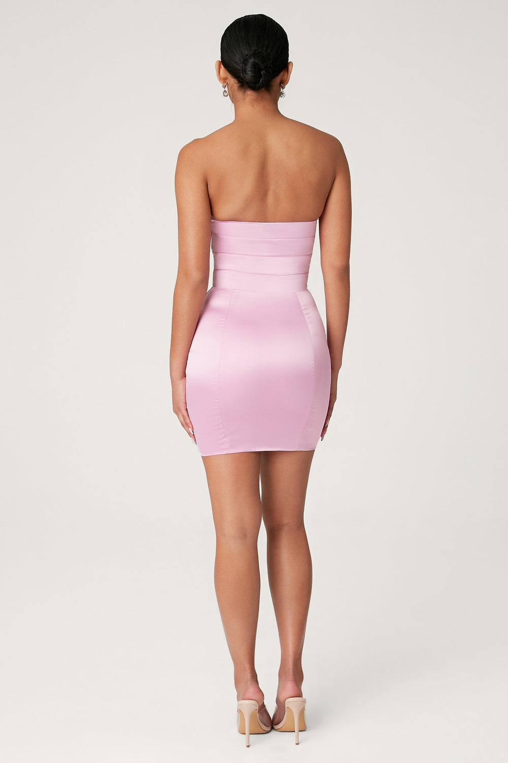 Alline Strapless Satin Mini Dress - Pink - MESHKI ?id=13873079386187