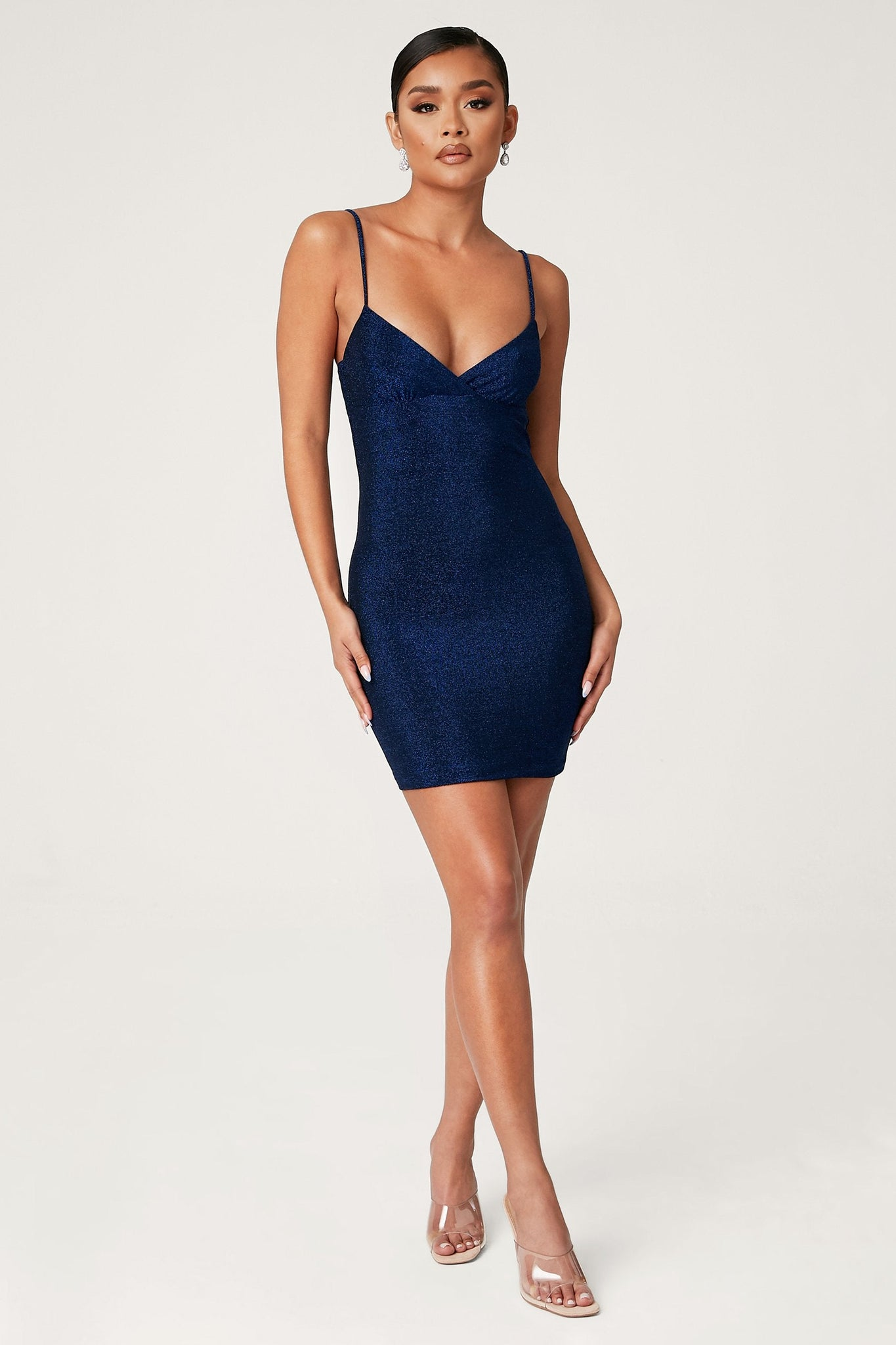 Lexia Shimmer Mini Dress - Blue - MESHKI