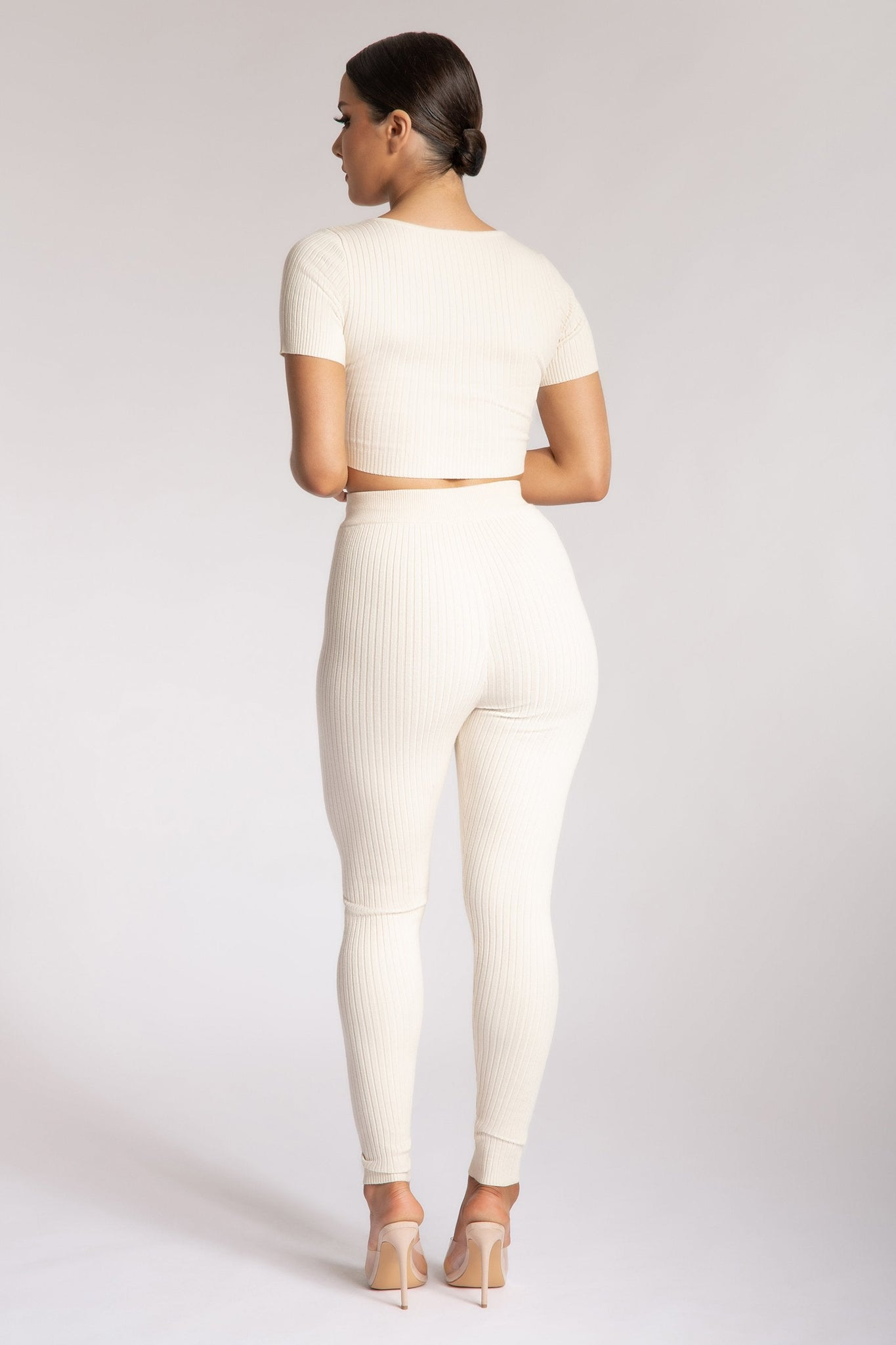 Nina V Neck Crop Top - Cream