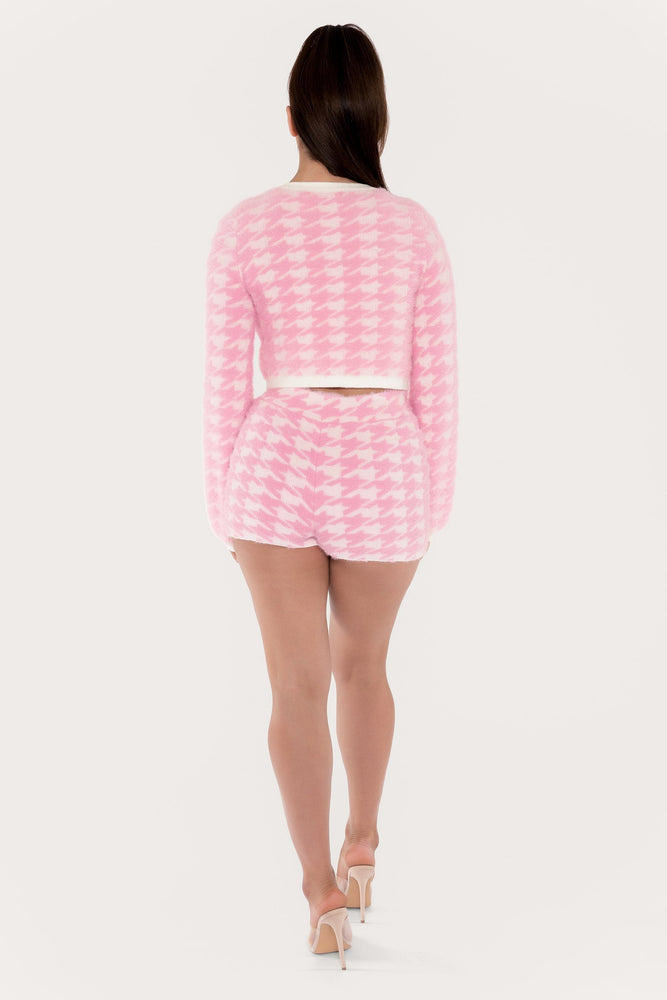 Nancy Houndstooth Fluffy Shorts - Pink