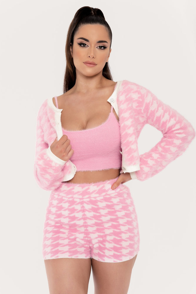 Nancy Houndstooth Fluffy Button Through Cardigan - Pink - MESHKI ?id=15217780883531