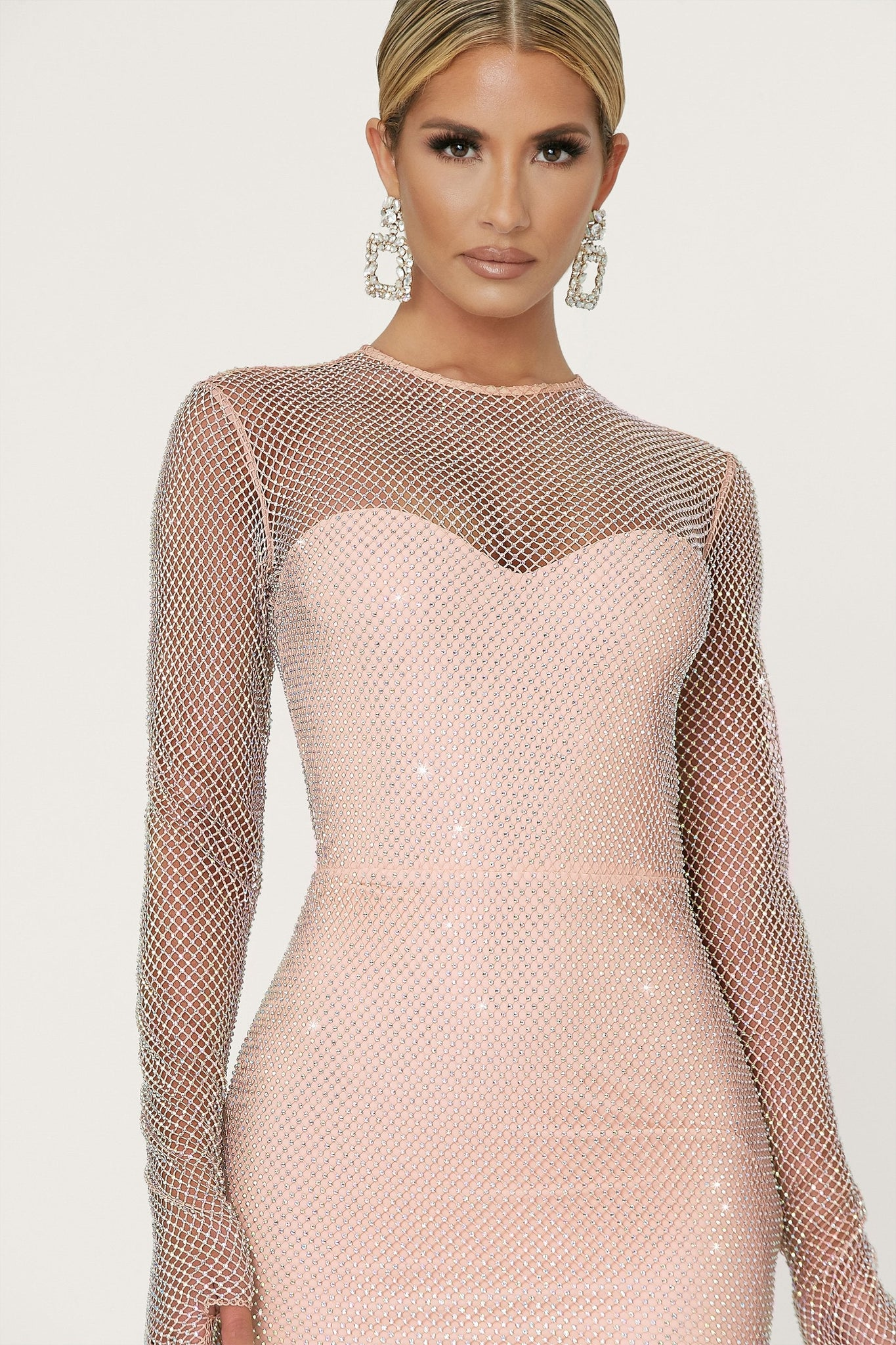 Shanese Long Sleeve Diamante Mini Dress - Nude - MESHKI