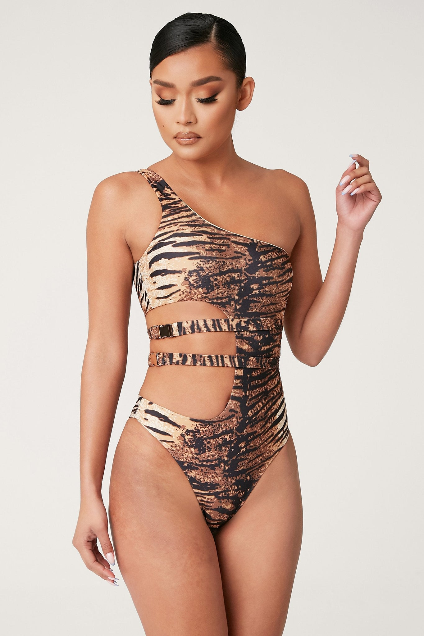 Florence One Shoulder Cut Out Buckle One Piece - Tiger - MESHKI