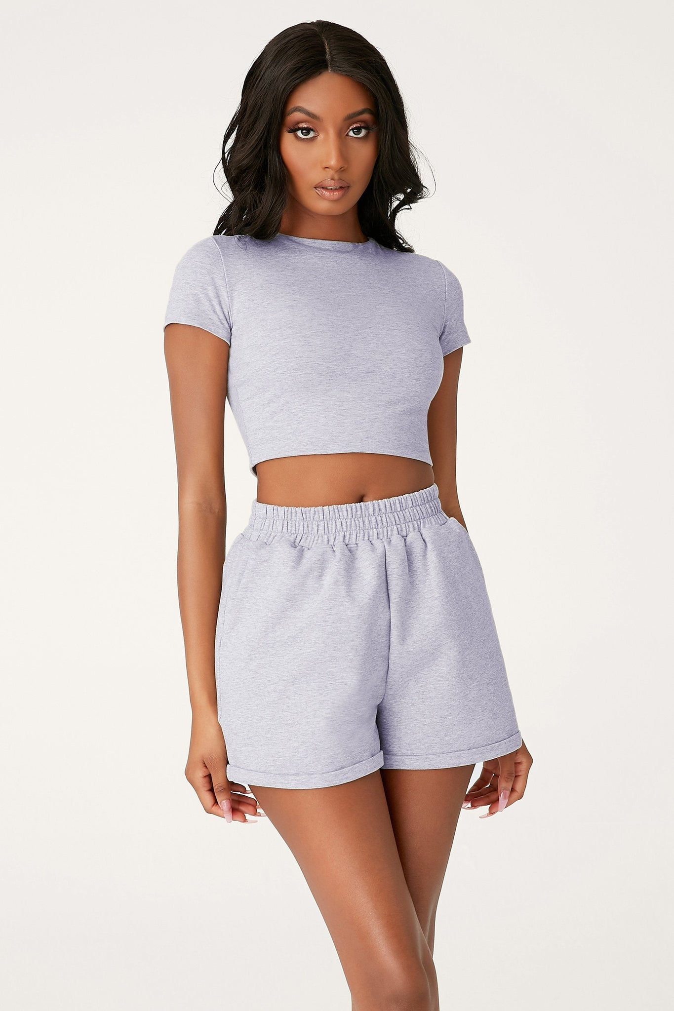 Kennedy Short Sleeve Cropped T-Shirt - Grey Marle - MESHKI