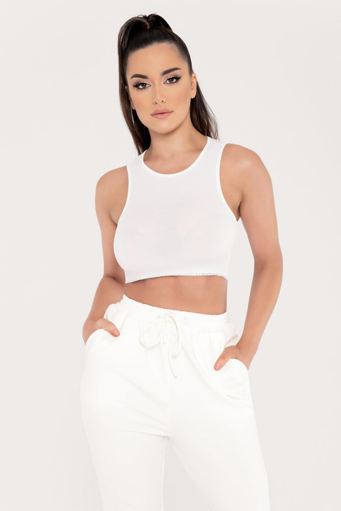 Keila Diamante Trim Ribbed Crop Top - White - MESHKI