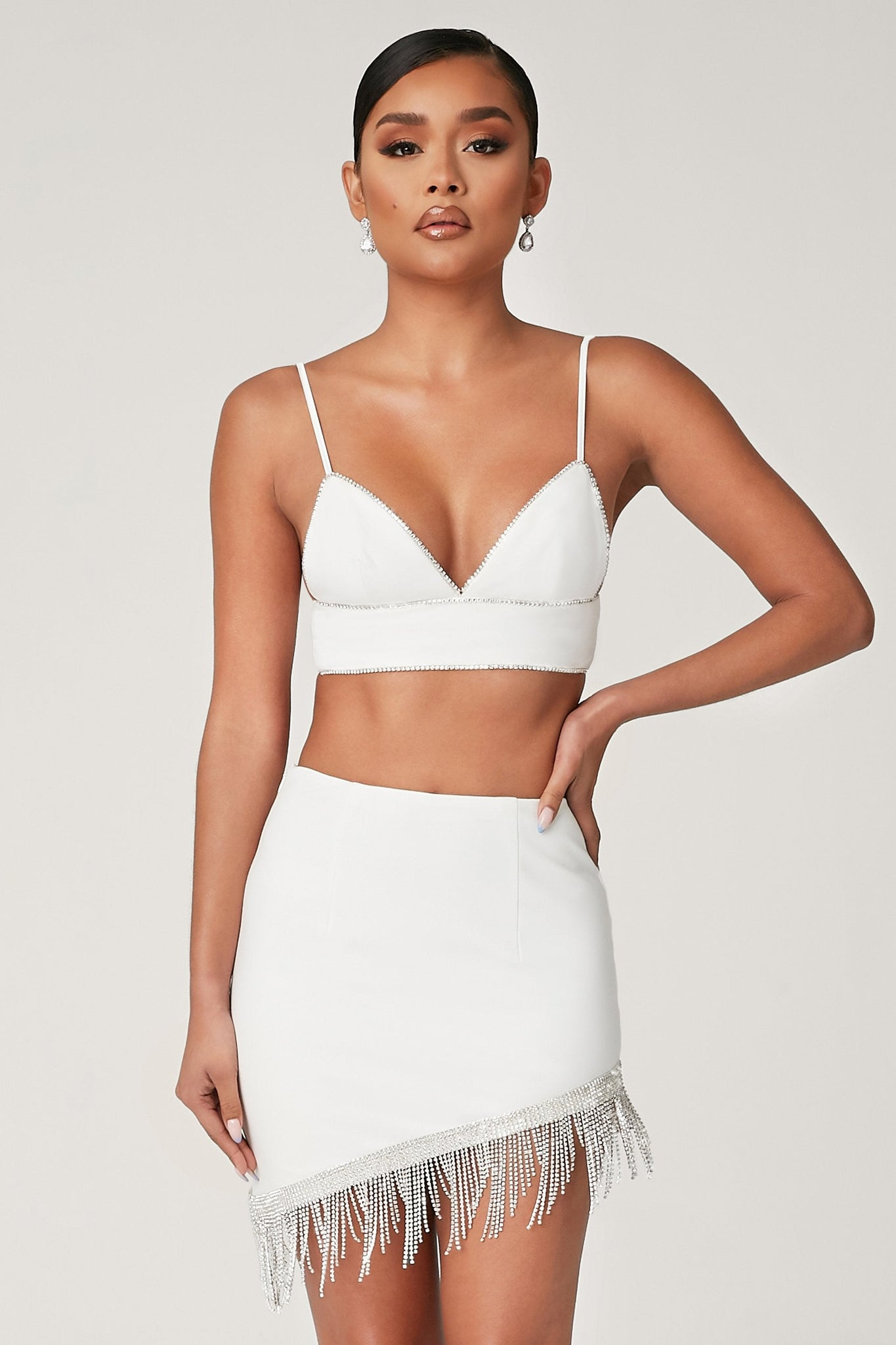 Lola Diamante Trim Crop Top - White - MESHKI