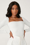 Fernley Ribbed Long Sleeve Bodysuit - White