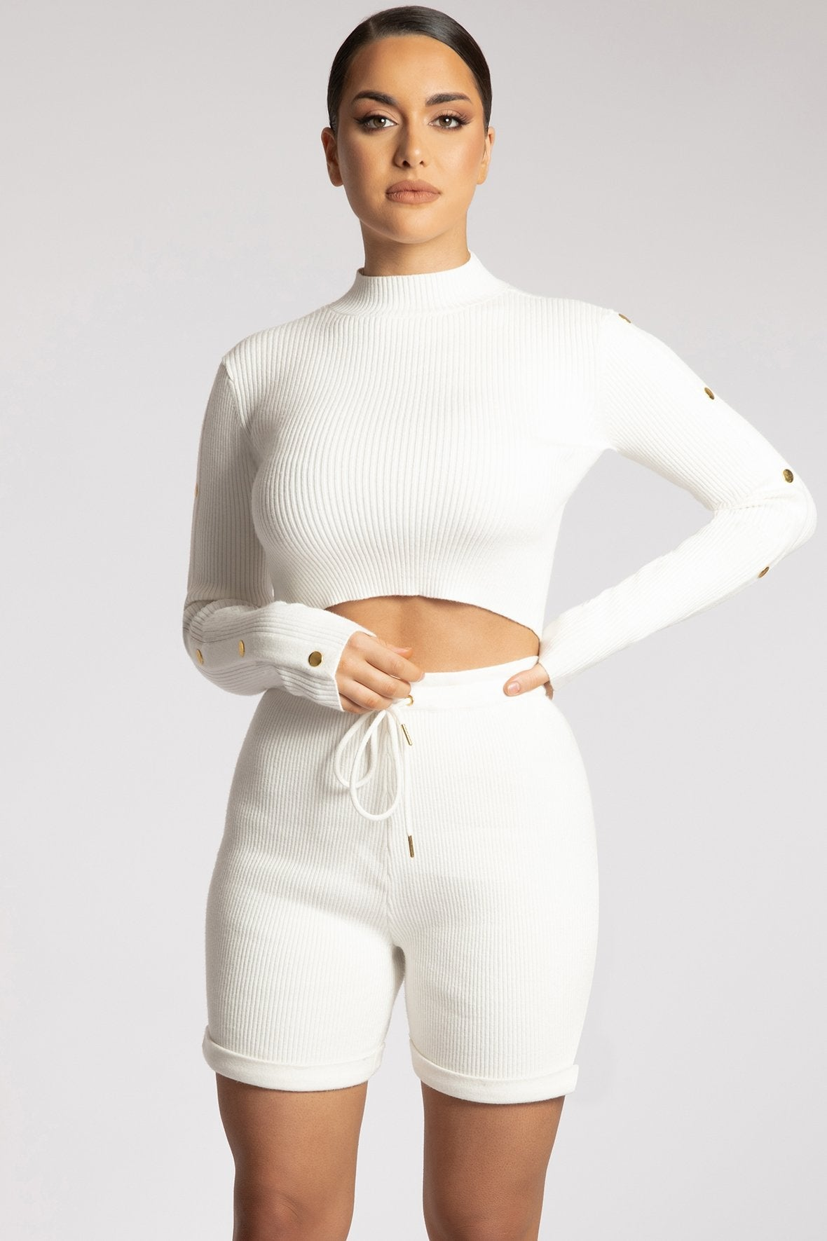 Camber Button Sleeve Detail Crop Top - White - MESHKI