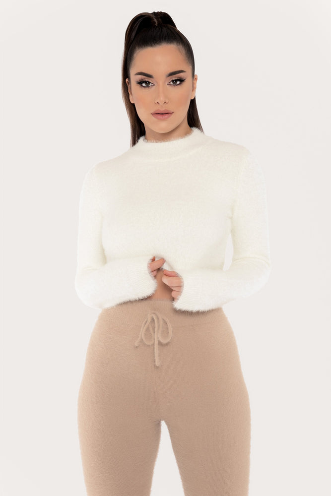 Tegan High Neck Long Sleeve Fluffy Crop Top - Cream - MESHKI