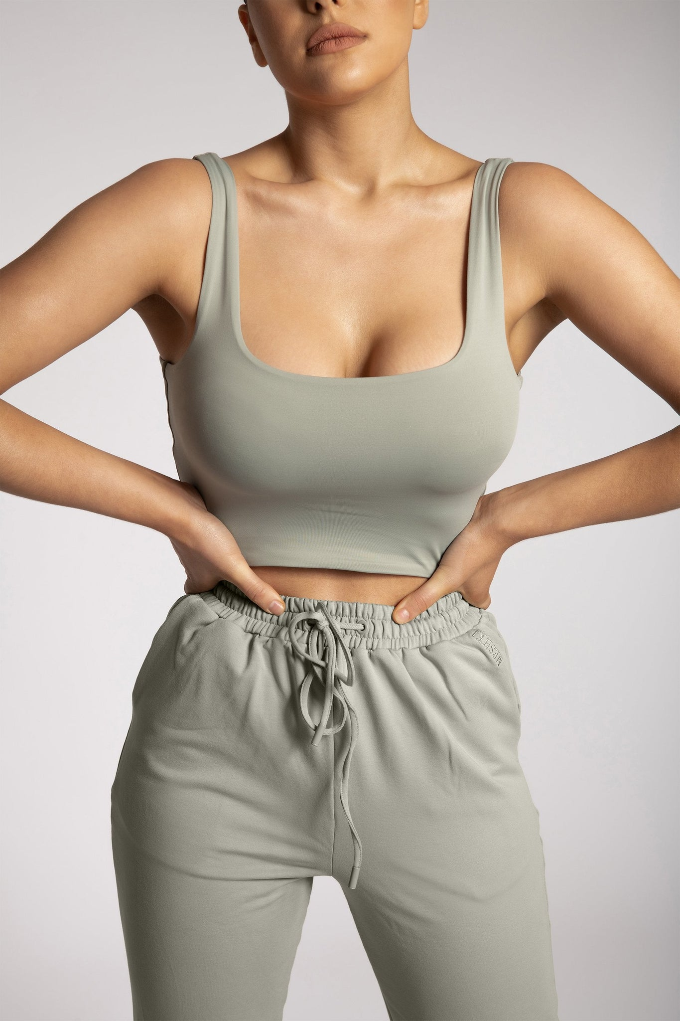 Mitsy Square Neck Crop Top - Sage - MESHKI