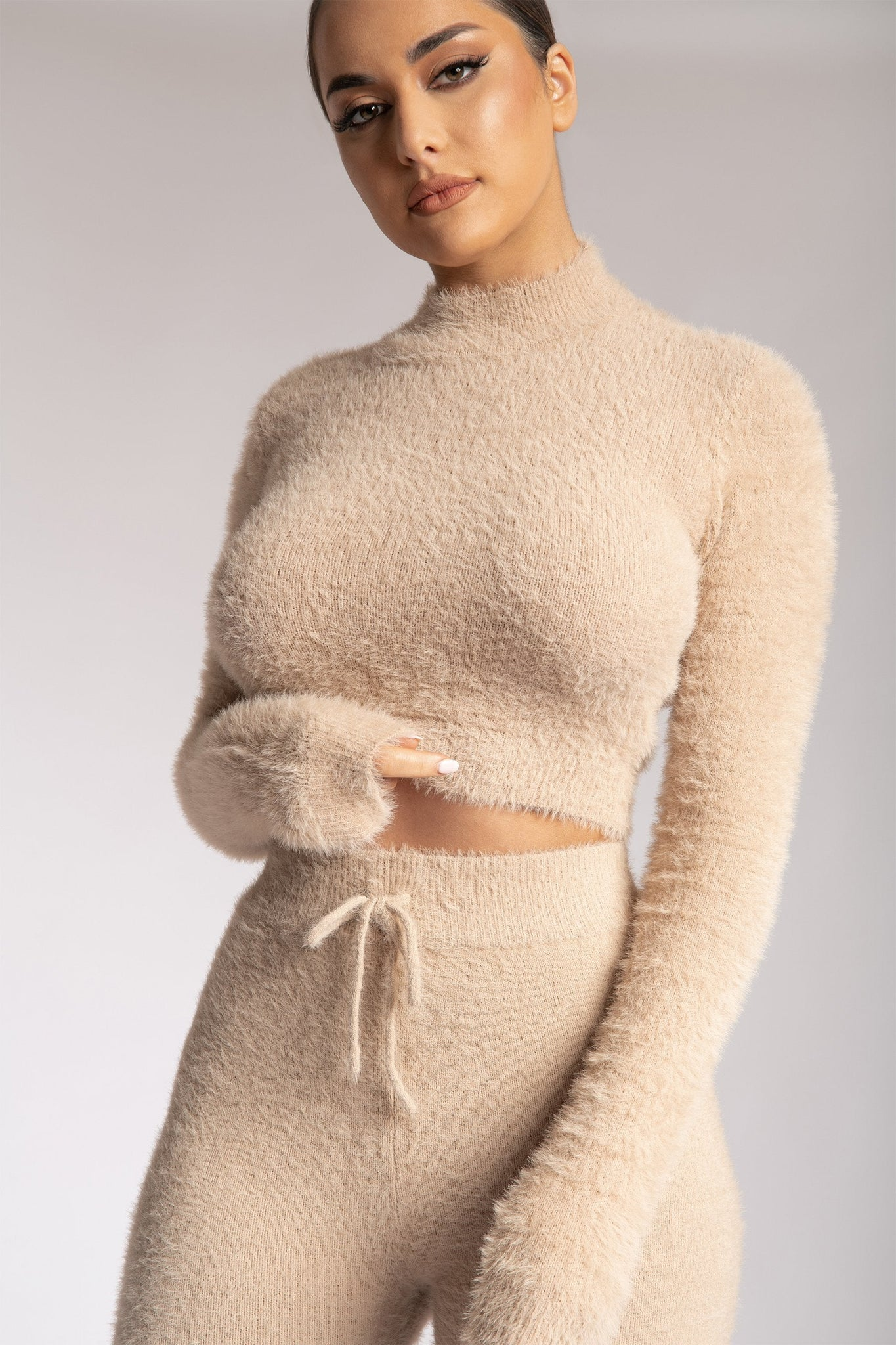 Tegan High Neck Long Sleeve Fluffy Crop Top - Caramel - MESHKI