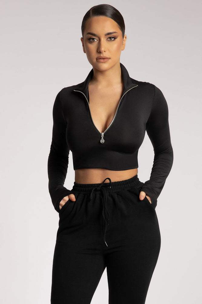 Ashlea Long Sleeve Zip Up Crop Top - Black - MESHKI