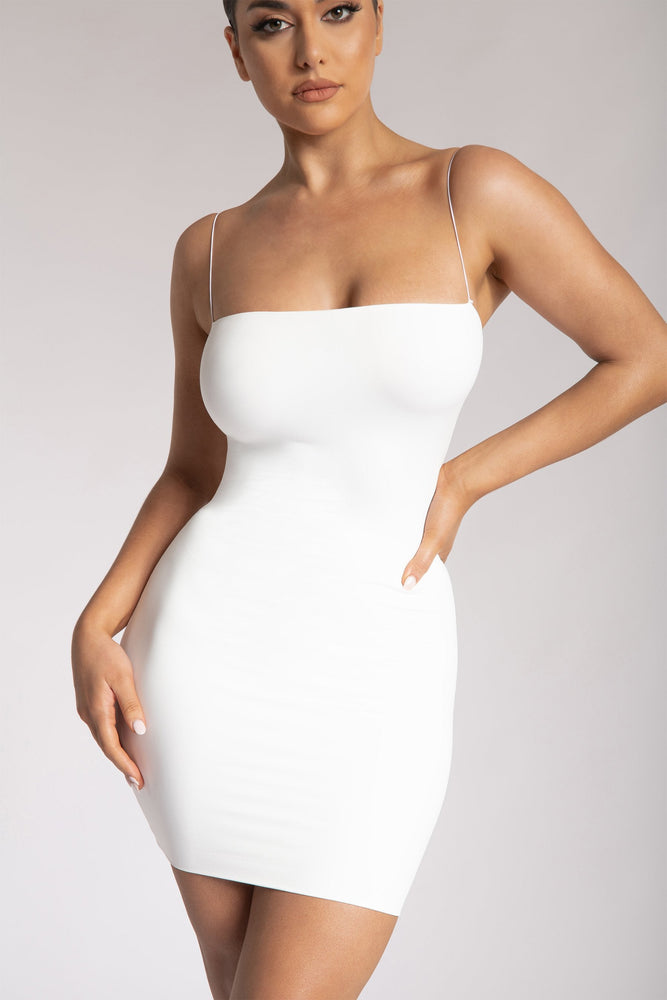 Mia Thin Strap Bodycon Mini Dress - White - MESHKI