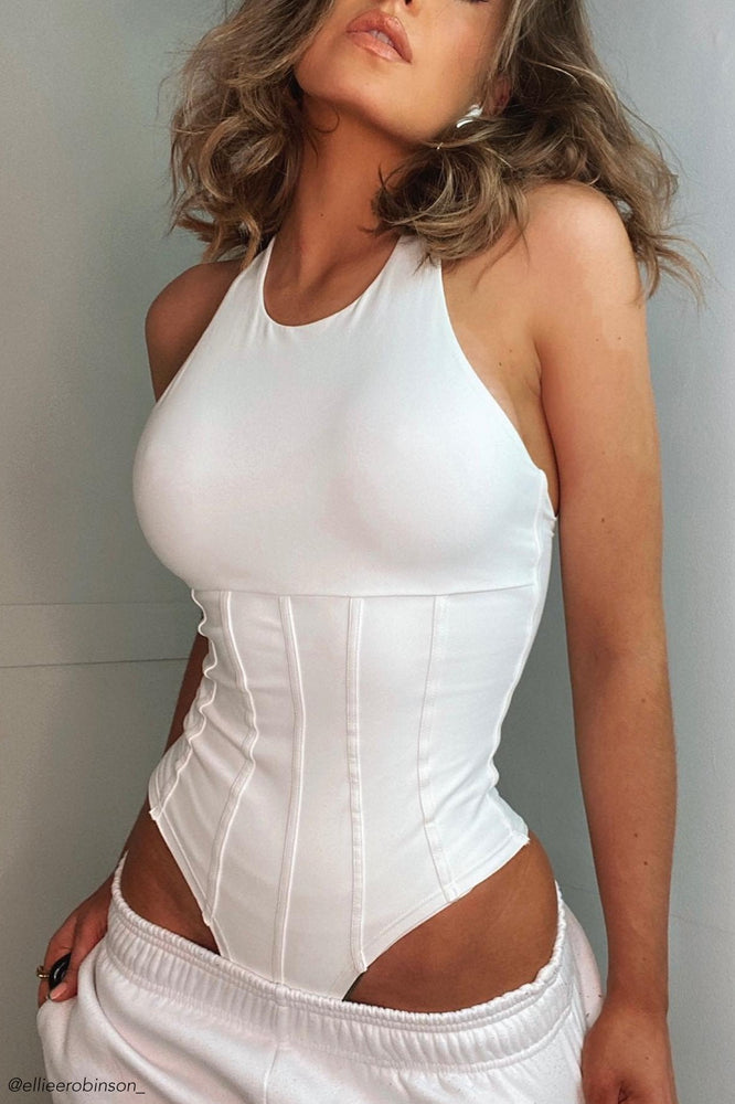 Hera Panelled Bodysuit - White