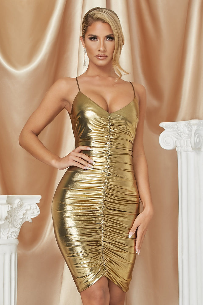Serenity Ruched Front Midi Dress - Gold - MESHKI