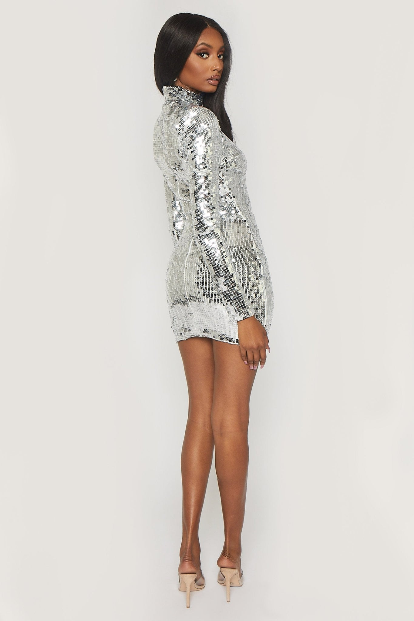 Hensley Mirror Sequin High Neck Long Sleeve Dress - Silver - MESHKI