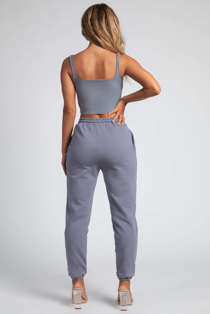 Jazmin Scoop Neck Crop Top - Grey - MESHKI