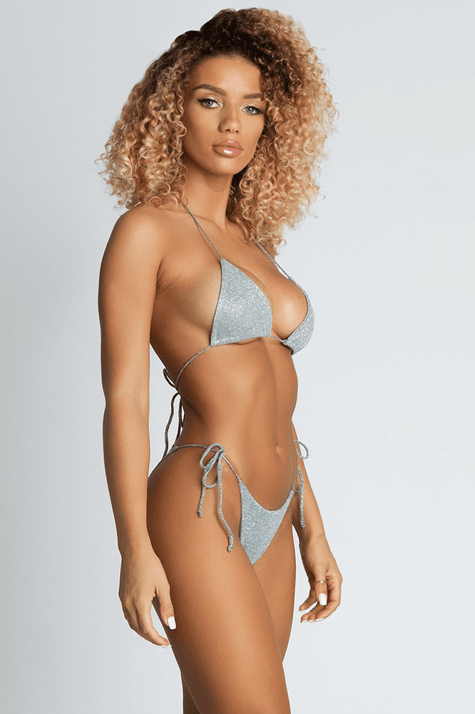 Amalia Metallic Bikini Bottom - Green - MESHKI
