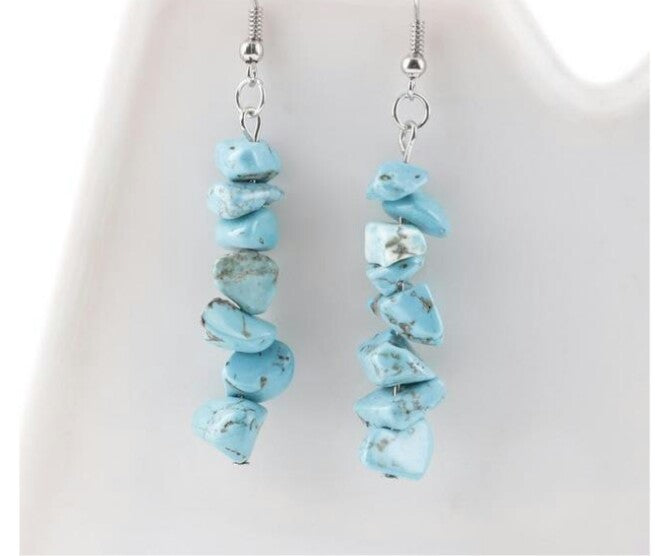 Handmade Natural Crystal Dangle Earrings