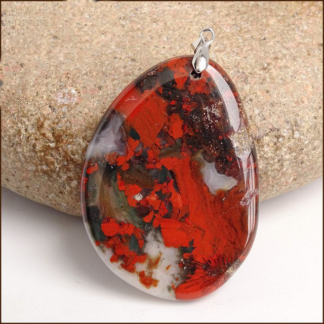Natural African Chakra Bloodstone Pendant