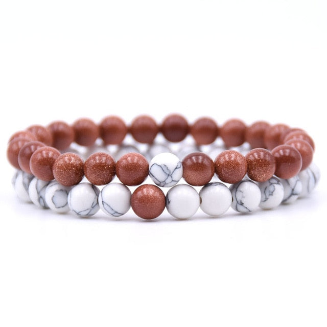 Couples Distance Natural Stone Bracelet Classic -  2 Pieces per Set